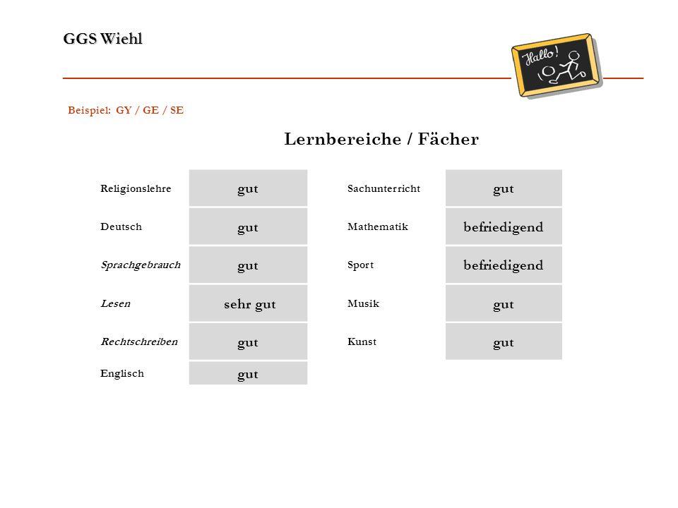 Lernbereiche / Fächer gut befriedigend sehr gut Beispiel: GY / GE / SE