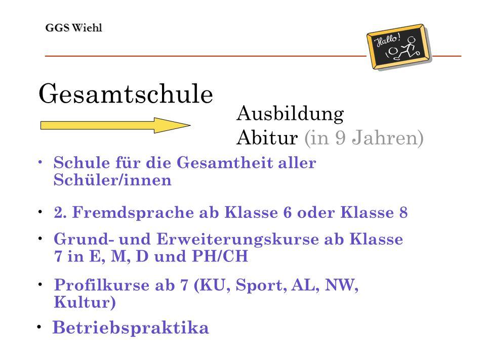 Gesamtschule Ausbildung Abitur (in 9 Jahren) Betriebspraktika