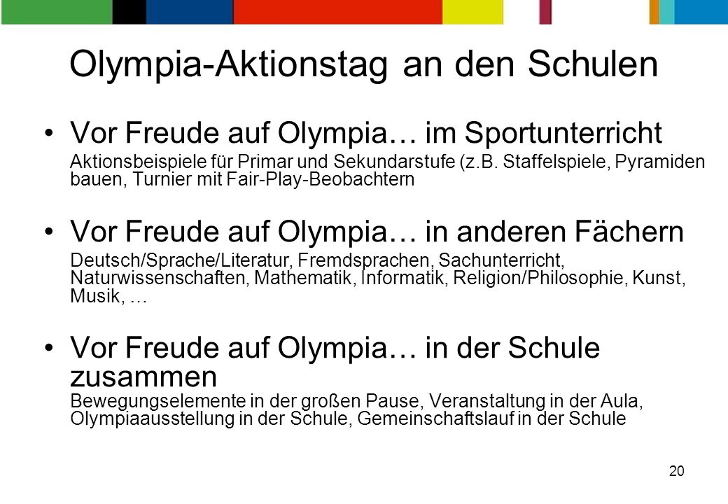 Olympia-Aktionstag an den Schulen