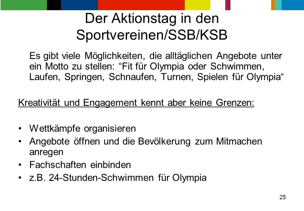 Der Aktionstag in den Sportvereinen/SSB/KSB