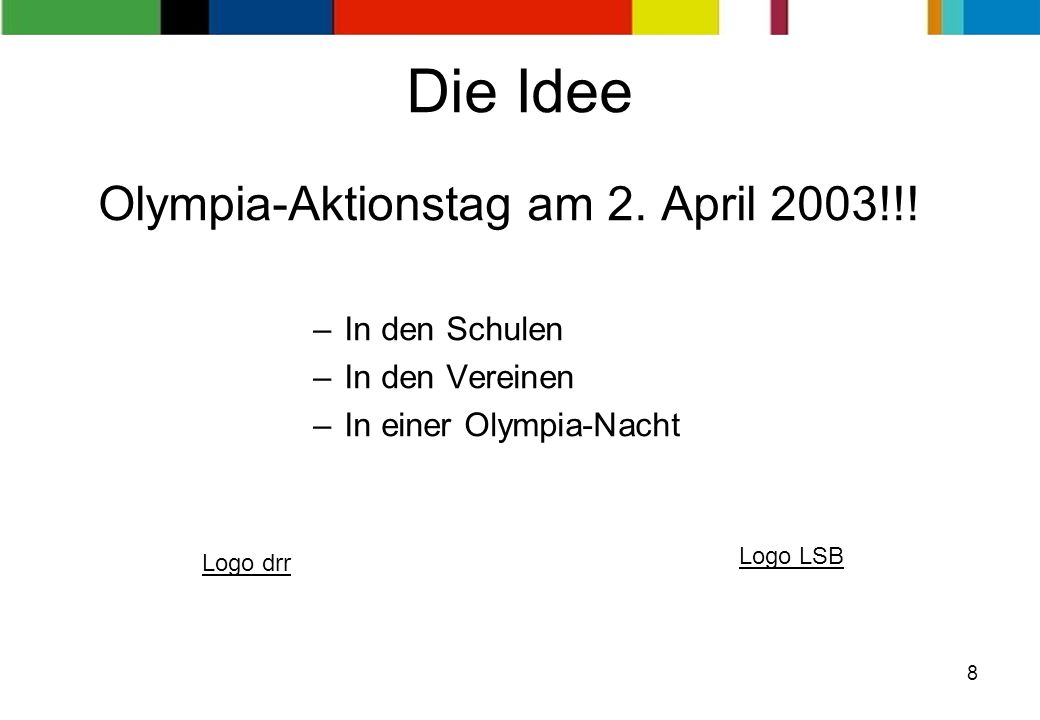 Olympia-Aktionstag am 2. April 2003!!!