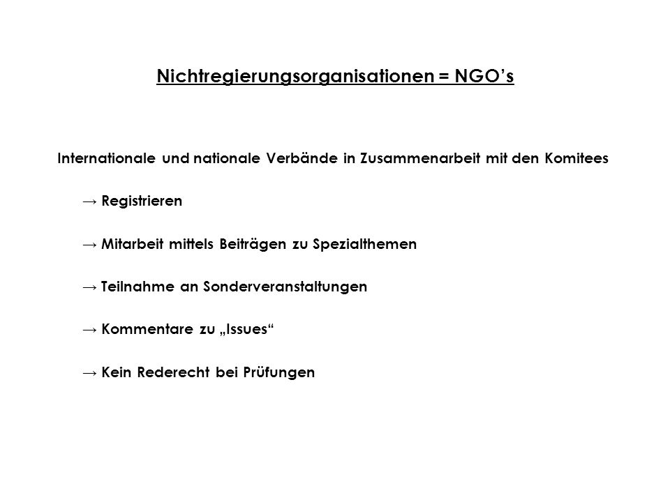 Nichtregierungsorganisationen = NGO's