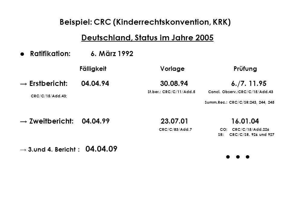Beispiel: CRC (Kinderrechtskonvention, KRK)