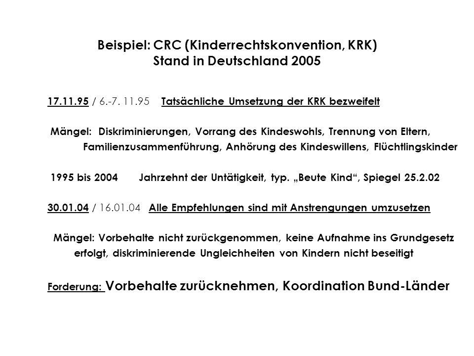 Beispiel: CRC (Kinderrechtskonvention, KRK) Stand in Deutschland 2005