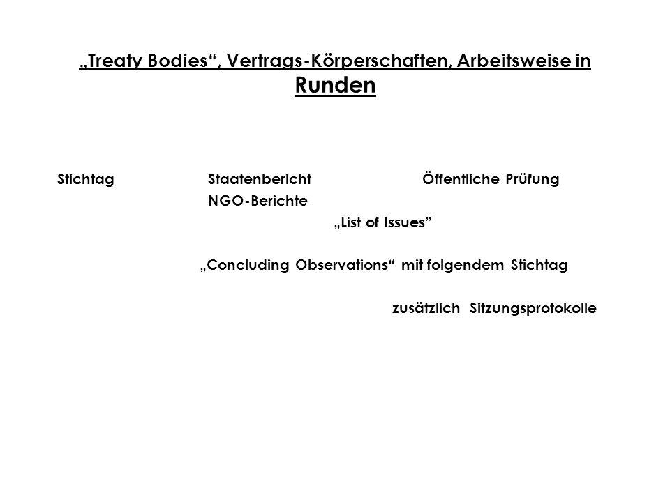 """""""Treaty Bodies , Vertrags-Körperschaften, Arbeitsweise in Runden"""