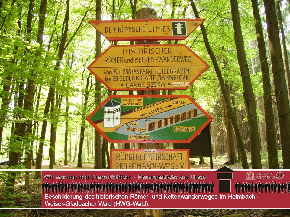 Beschilderung des historischen Römer- und Keltenwanderweges im Heimbach-Weiser-Gladbacher Wald (HWG-Wald).