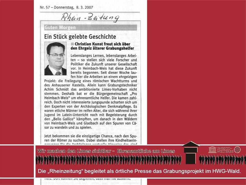 """Die """"Rheinzeitung begleitet als örtliche Presse das Grabungsprojekt im HWG-Wald."""