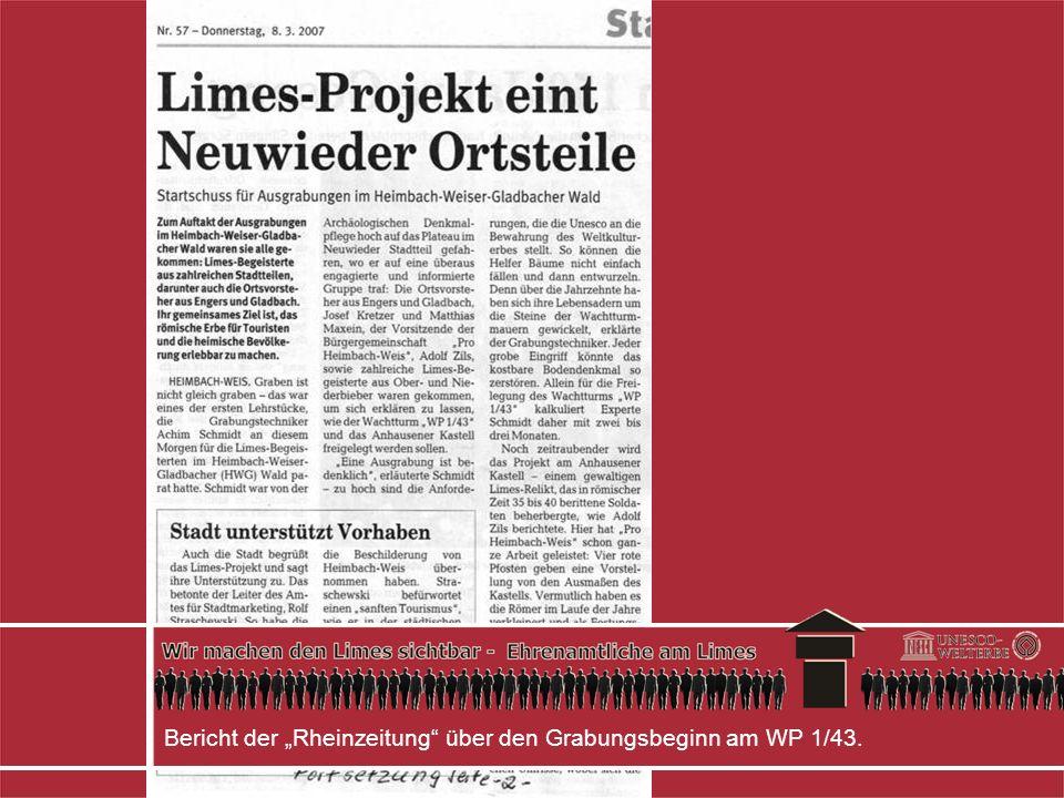 """Bericht der """"Rheinzeitung über den Grabungsbeginn am WP 1/43."""