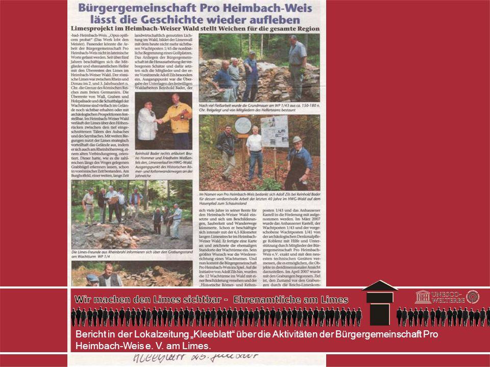 """Bericht in der Lokalzeitung """"Kleeblatt über die Aktivitäten der Bürgergemeinschaft Pro Heimbach-Weis e."""
