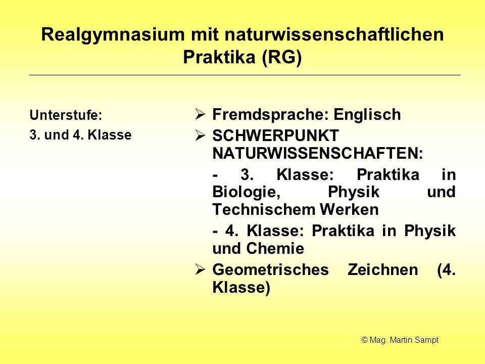 Realgymnasium mit naturwissenschaftlichen Praktika (RG)