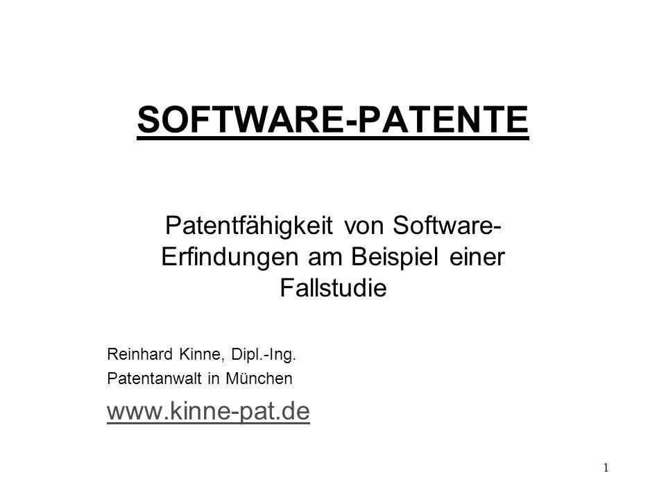 Patentfähigkeit von Software-Erfindungen am Beispiel einer Fallstudie