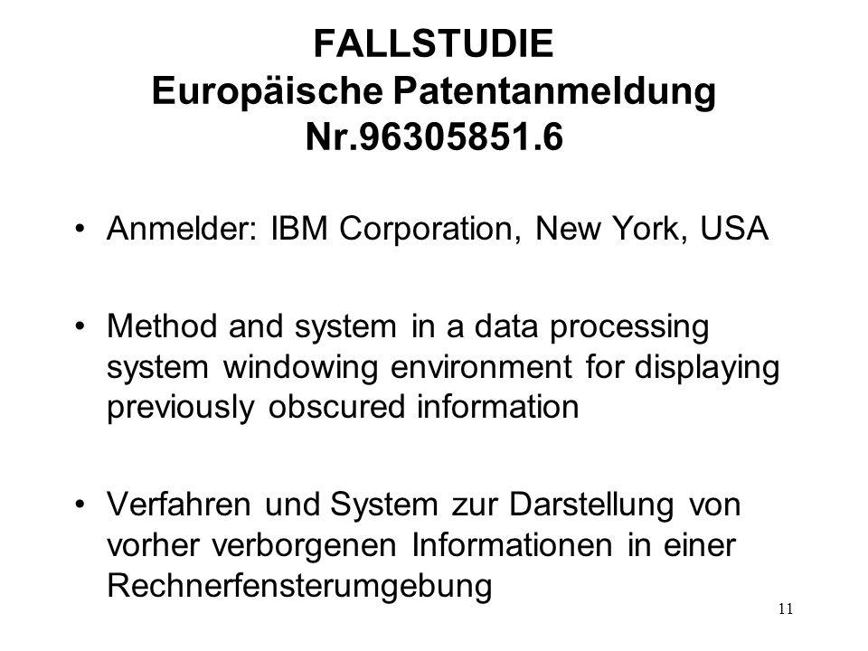 FALLSTUDIE Europäische Patentanmeldung Nr.96305851.6