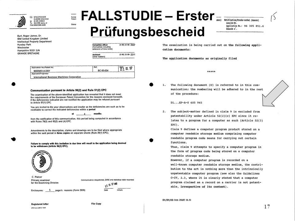 FALLSTUDIE – Erster Prüfungsbescheid
