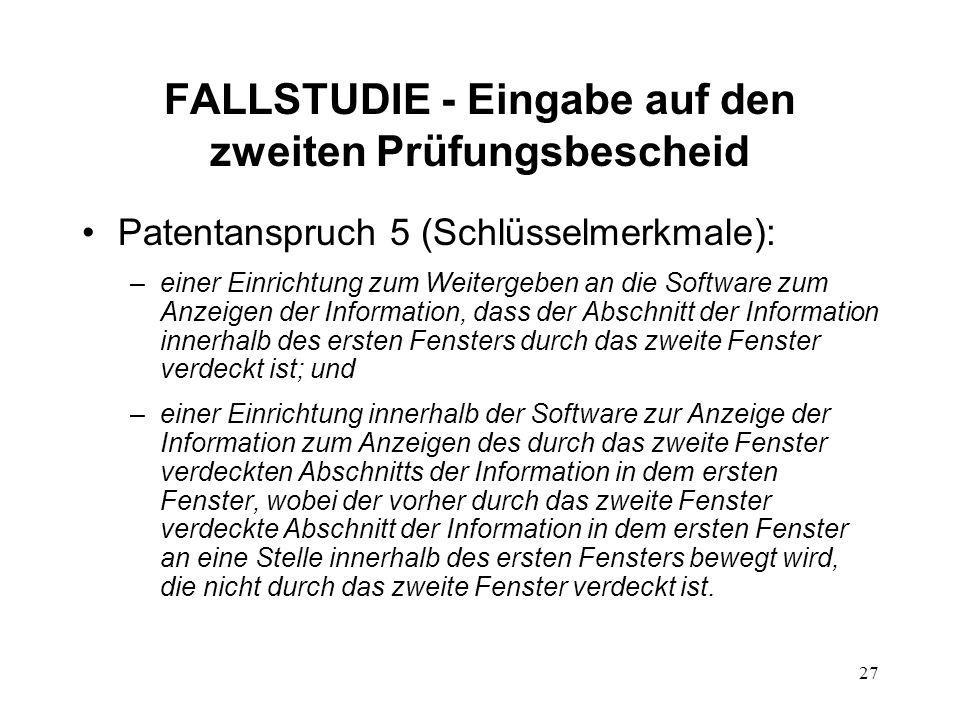 FALLSTUDIE - Eingabe auf den zweiten Prüfungsbescheid