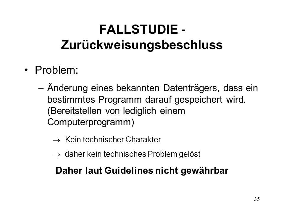 FALLSTUDIE - Zurückweisungsbeschluss
