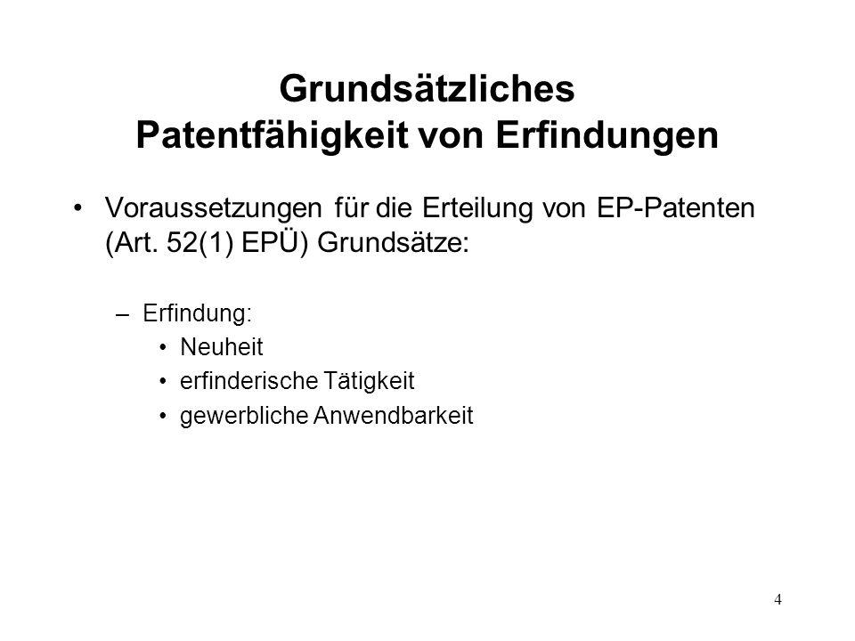 Grundsätzliches Patentfähigkeit von Erfindungen