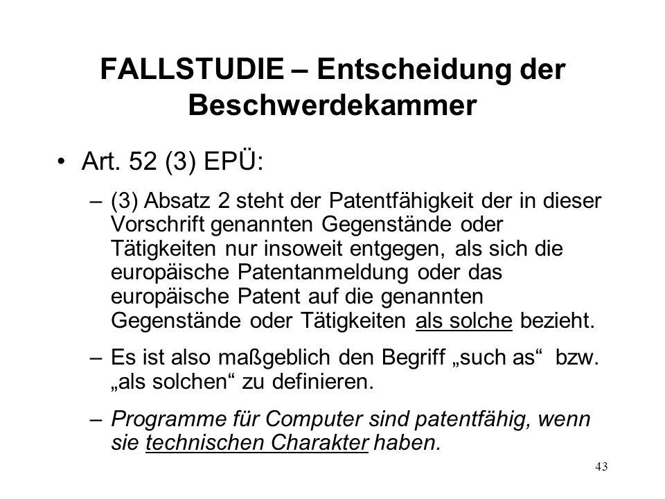 FALLSTUDIE – Entscheidung der Beschwerdekammer