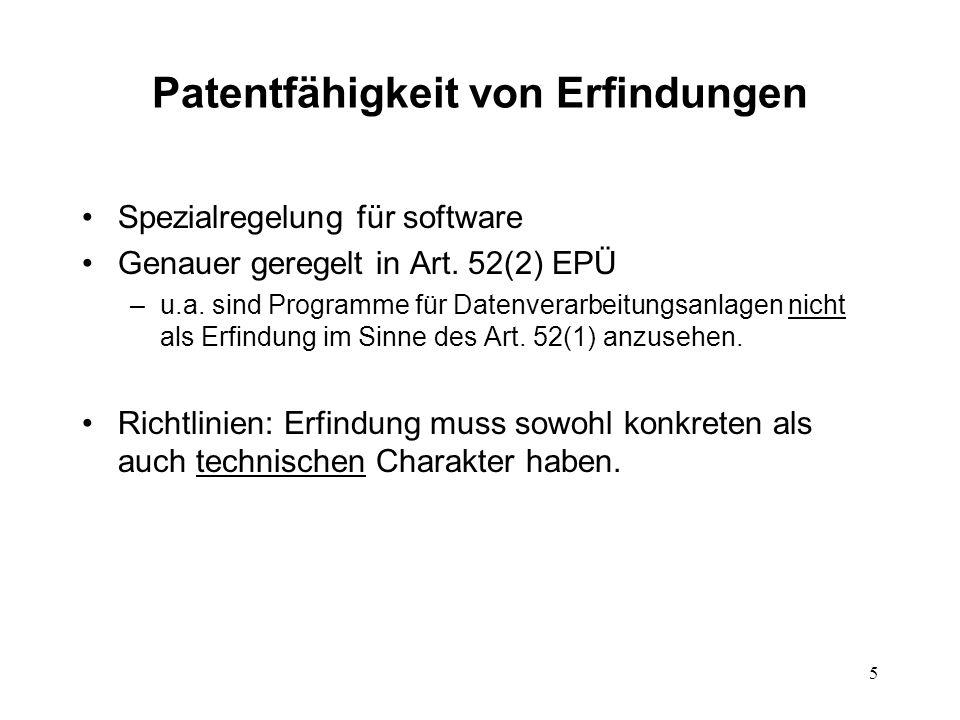 Patentfähigkeit von Erfindungen