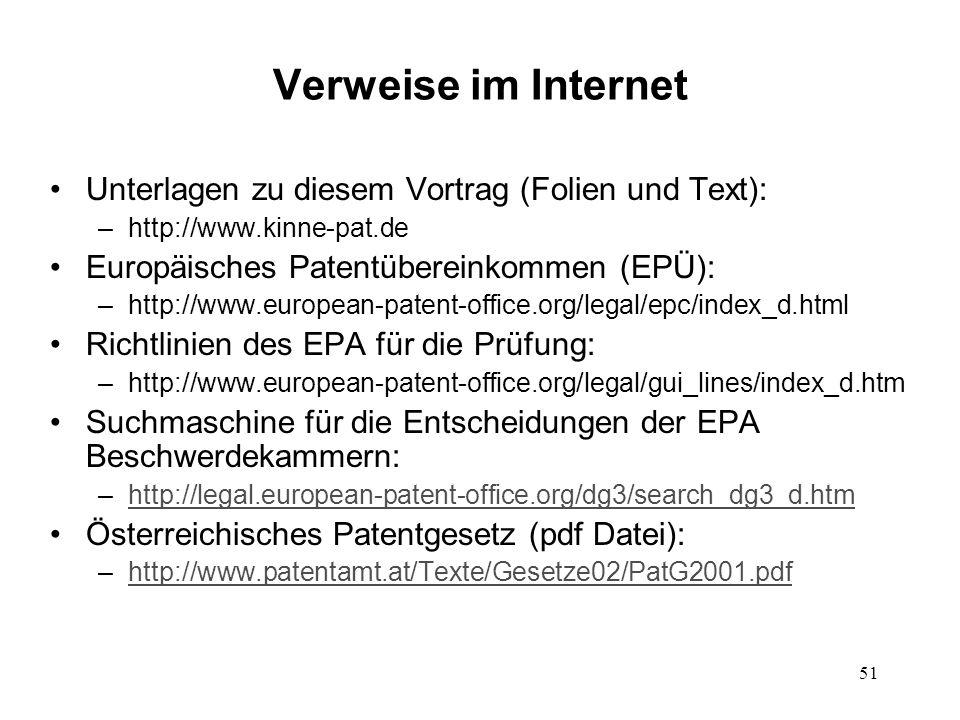 Verweise im Internet Unterlagen zu diesem Vortrag (Folien und Text):