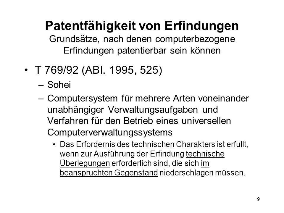 Patentfähigkeit von Erfindungen Grundsätze, nach denen computerbezogene Erfindungen patentierbar sein können