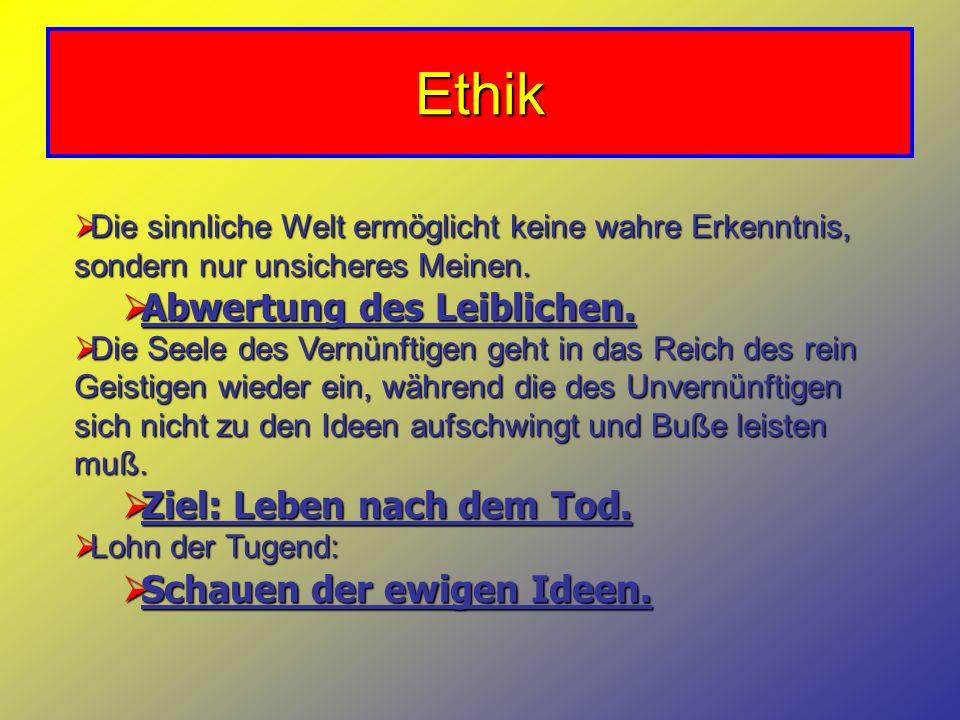 Ethik Abwertung des Leiblichen. Ziel: Leben nach dem Tod.