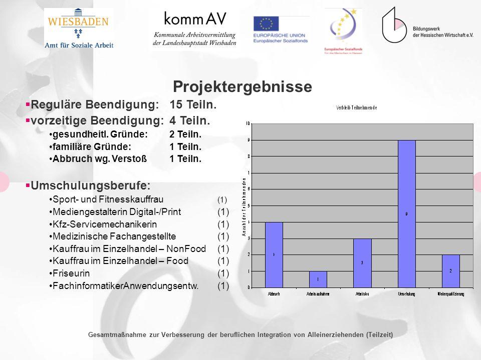 Projektergebnisse Reguläre Beendigung: 15 Teiln.