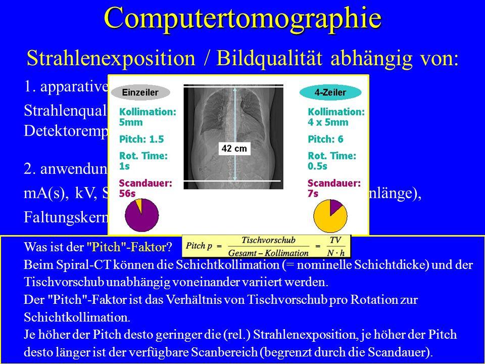 Computertomographie Strahlenexposition / Bildqualität abhängig von: