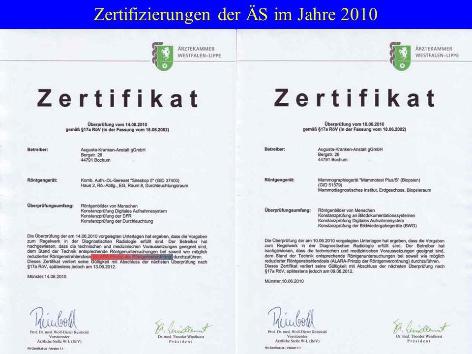 Zertifizierungen der ÄS im Jahre 2010