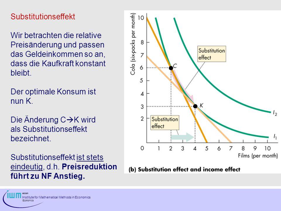 Substitutionseffekt Wir betrachten die relative. Preisänderung und passen. das Geldeinkommen so an,