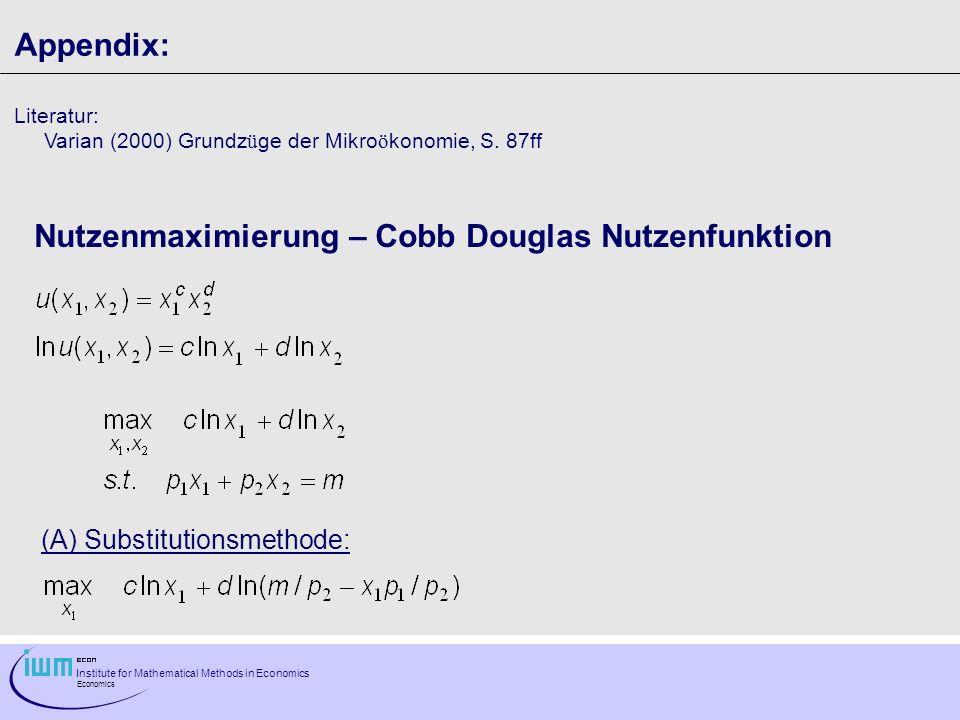Nutzenmaximierung – Cobb Douglas Nutzenfunktion