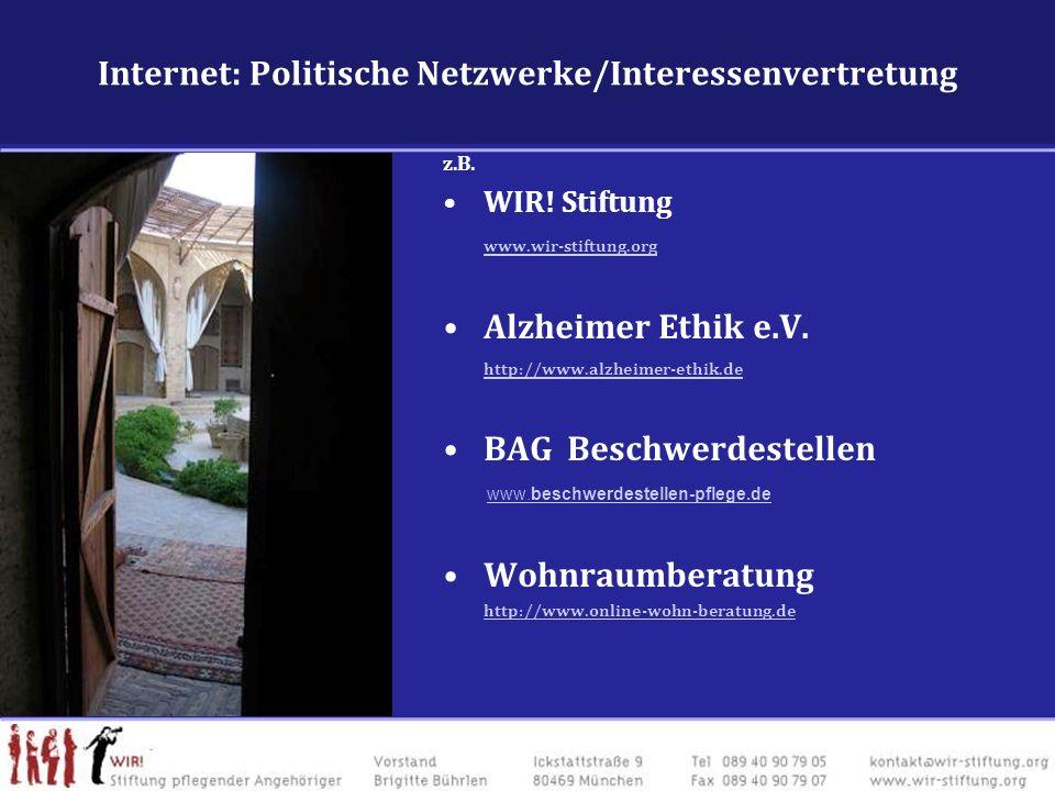 Internet: Politische Netzwerke/Interessenvertretung