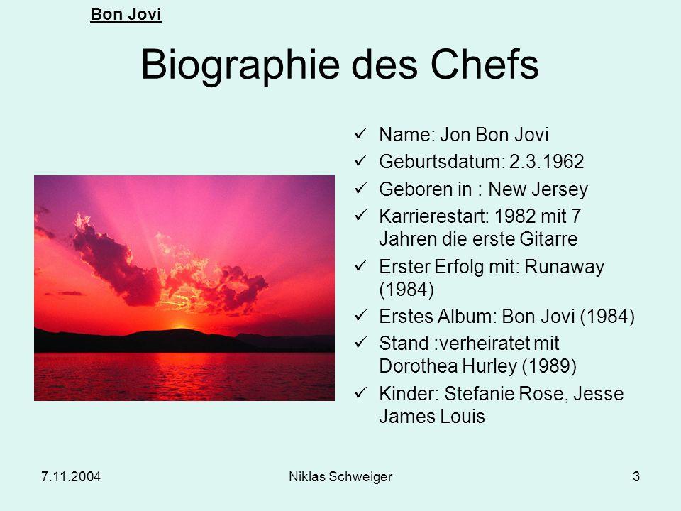 Biographie des Chefs Name: Jon Bon Jovi Geburtsdatum: 2.3.1962