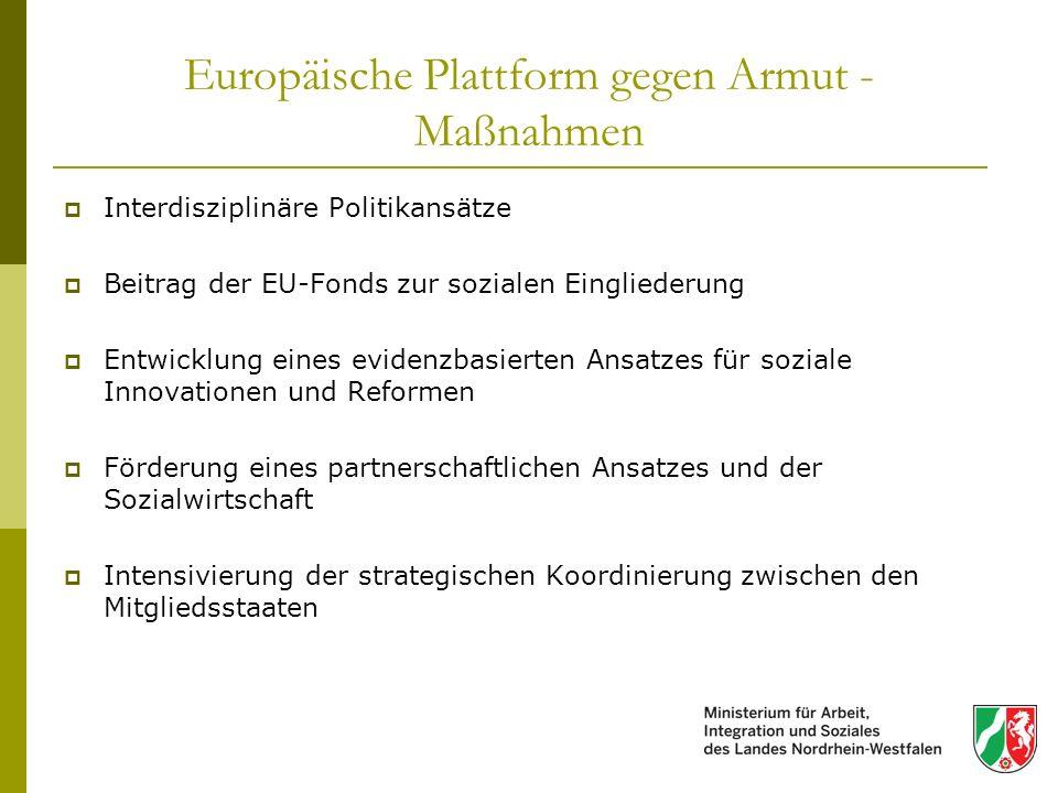 Europäische Plattform gegen Armut - Maßnahmen