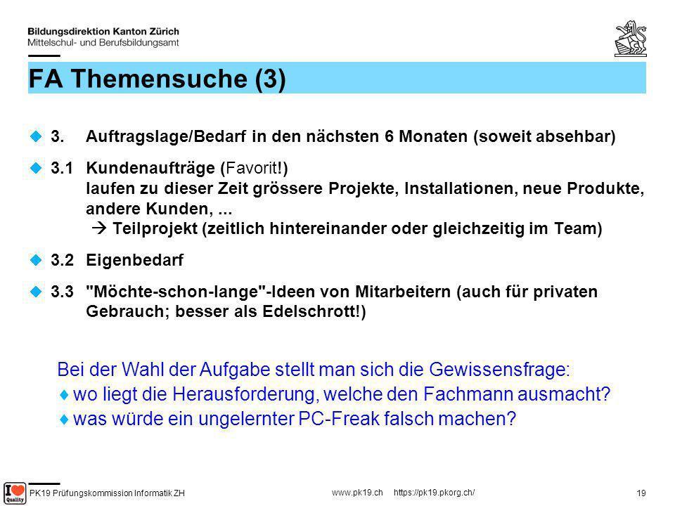 FA Themensuche (3) 3. Auftragslage/Bedarf in den nächsten 6 Monaten (soweit absehbar)