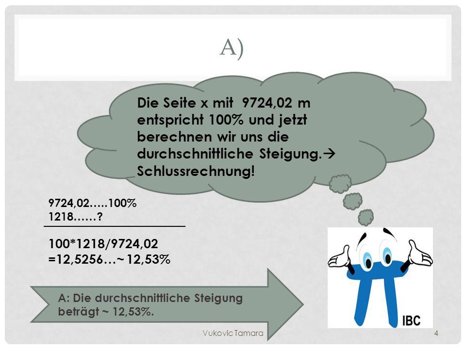 A) Die Seite x mit 9724,02 m entspricht 100% und jetzt berechnen wir uns die durchschnittliche Steigung. Schlussrechnung!