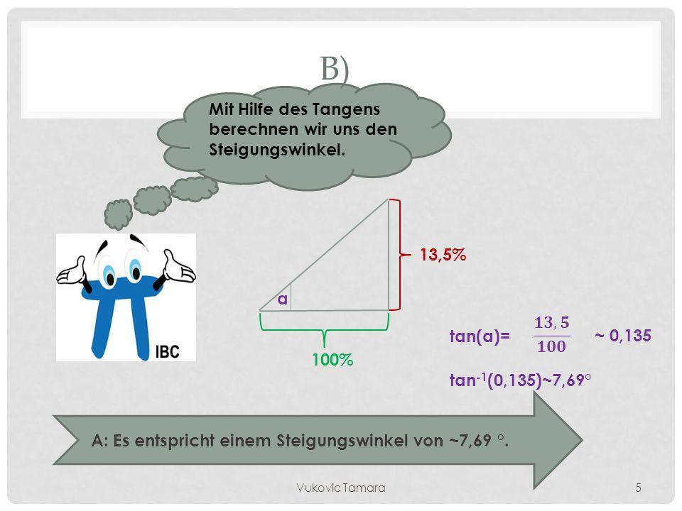 B) Mit Hilfe des Tangens berechnen wir uns den Steigungswinkel. 13,5%