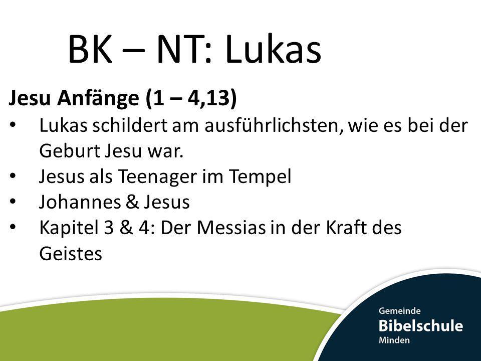 BK – NT: Lukas Jesu Anfänge (1 – 4,13)