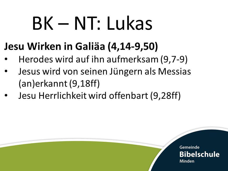 BK – NT: Lukas Jesu Wirken in Galiäa (4,14-9,50)