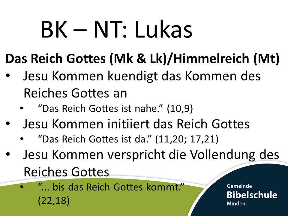 BK – NT: Lukas Das Reich Gottes (Mk & Lk)/Himmelreich (Mt)