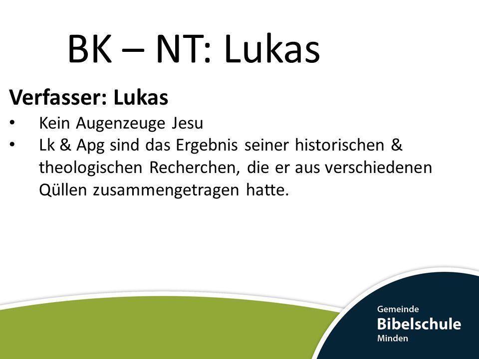 BK – NT: Lukas Verfasser: Lukas Kein Augenzeuge Jesu