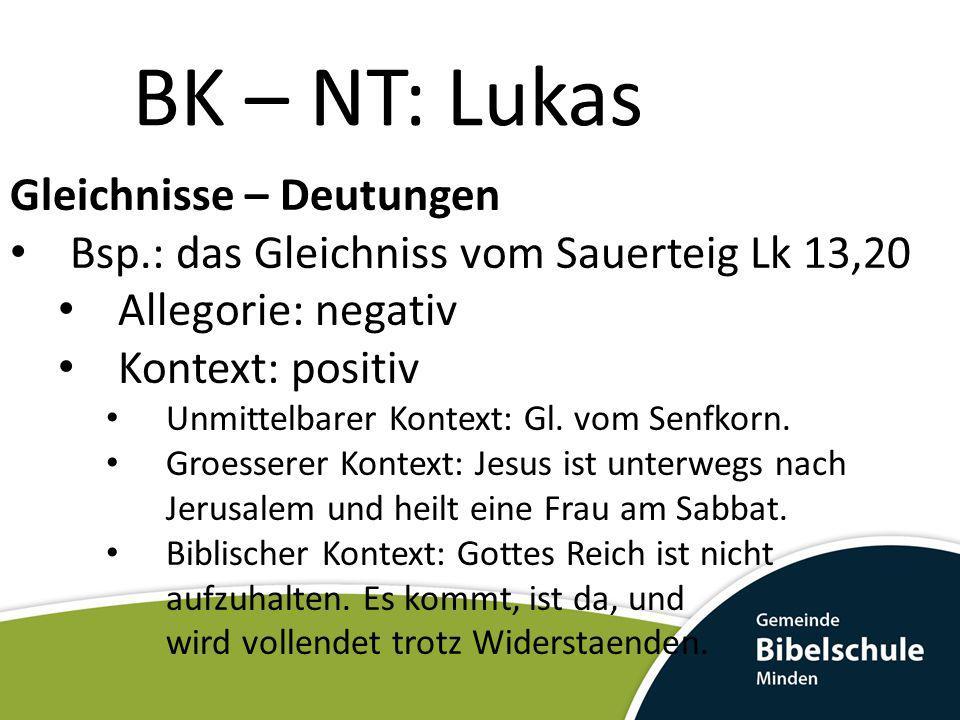 BK – NT: Lukas Gleichnisse – Deutungen