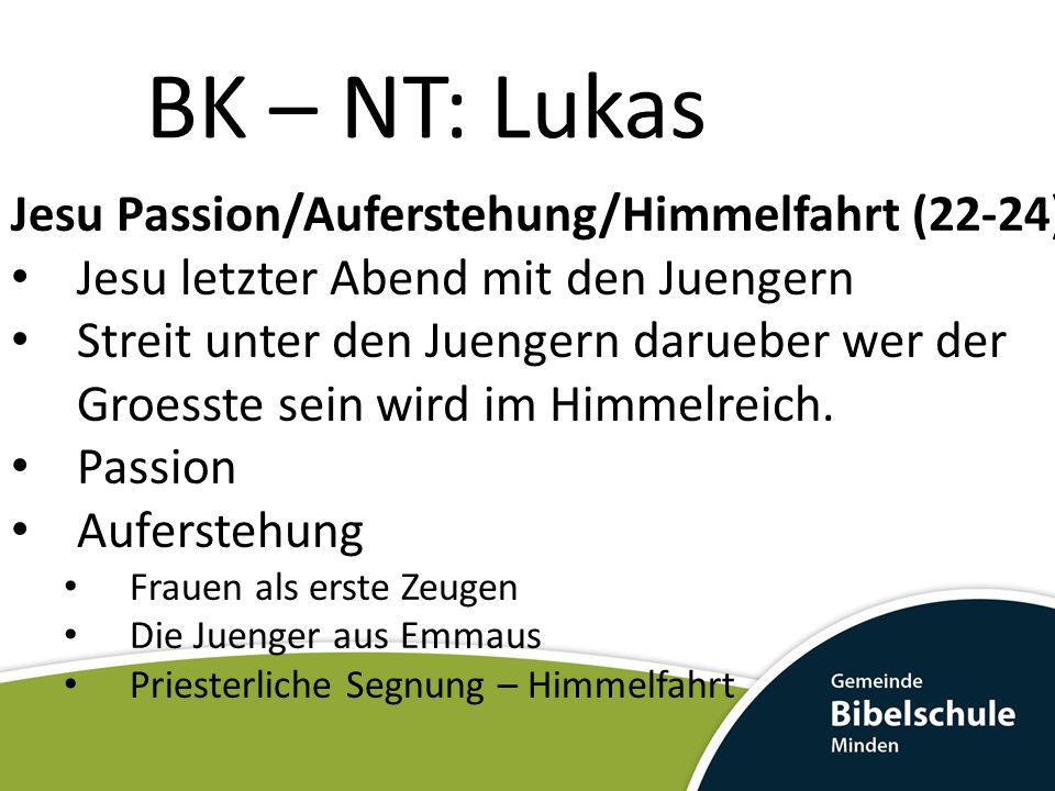 BK – NT: Lukas Jesu Passion/Auferstehung/Himmelfahrt (22-24)