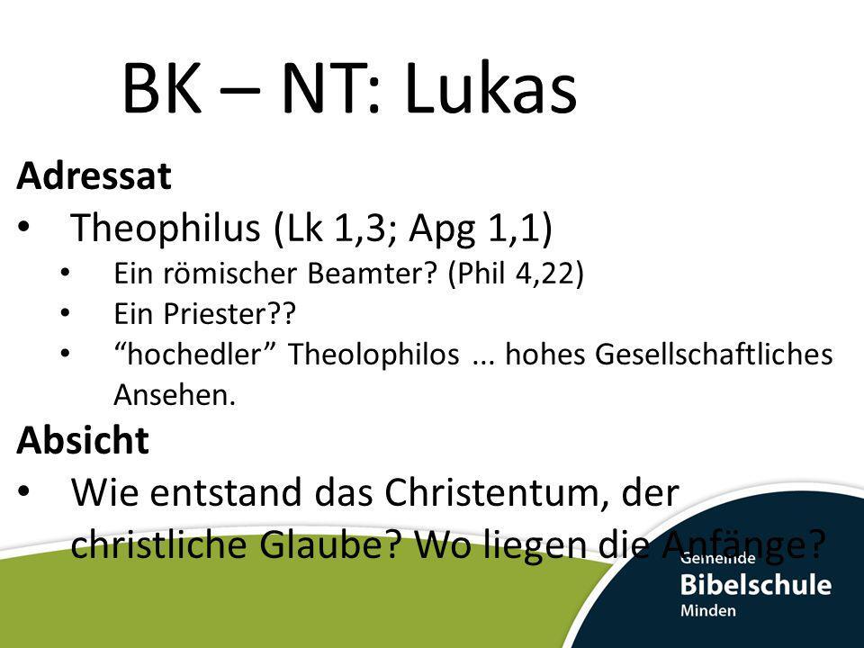BK – NT: Lukas Adressat Theophilus (Lk 1,3; Apg 1,1) Absicht