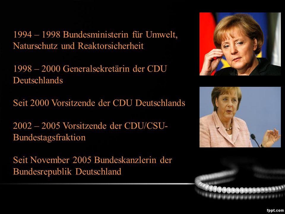 1994 – 1998 Bundesministerin für Umwelt, Naturschutz und Reaktorsicherheit