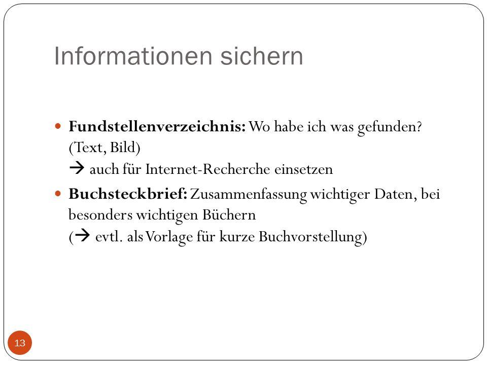 Informationen sichern