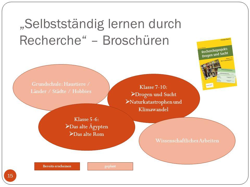 """""""Selbstständig lernen durch Recherche – Broschüren"""