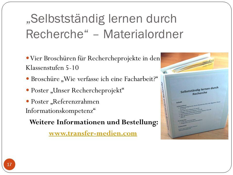 """""""Selbstständig lernen durch Recherche – Materialordner"""