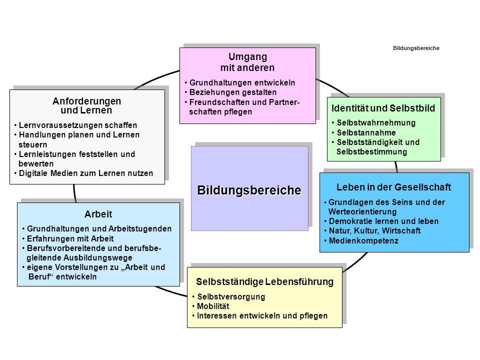 Bildungsbereiche Umgang mit anderen Anforderungen und Lernen