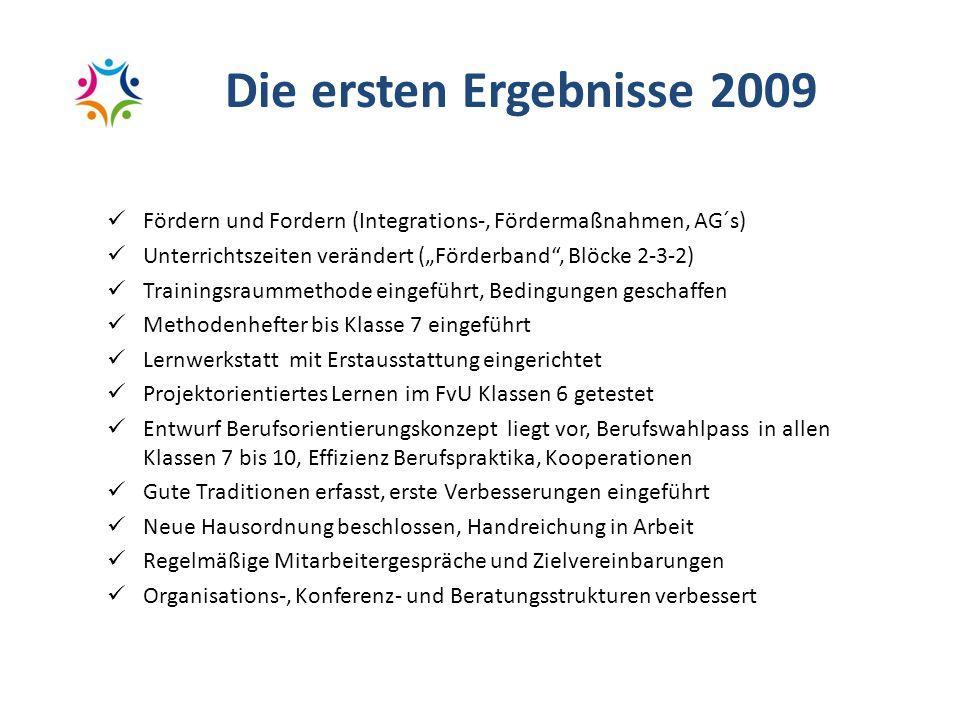 """Die ersten Ergebnisse 2009 Fördern und Fordern (Integrations-, Fördermaßnahmen, AG´s) Unterrichtszeiten verändert (""""Förderband , Blöcke 2-3-2)"""