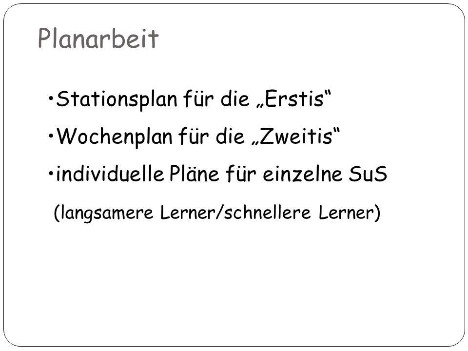"""Planarbeit Stationsplan für die """"Erstis Wochenplan für die """"Zweitis"""